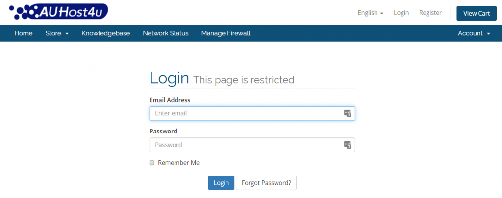 login-auhost4u-screenshot-support-question