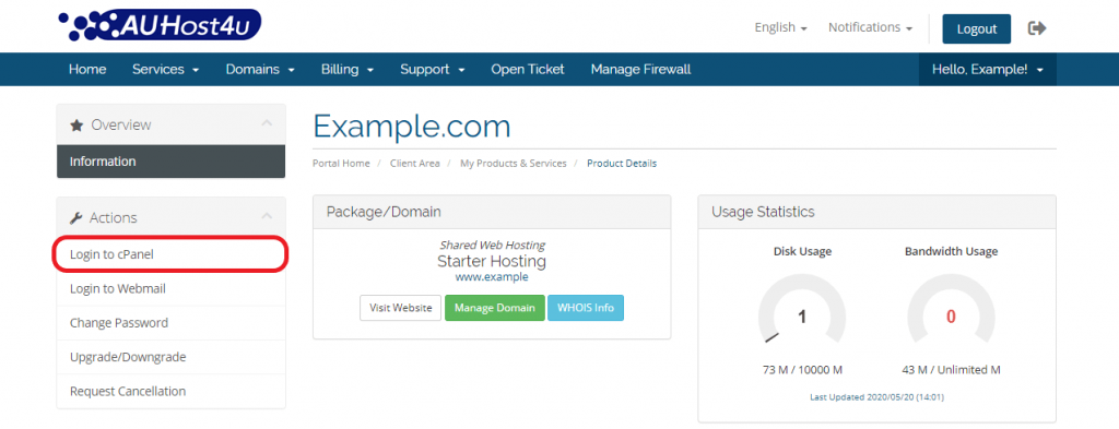 login-cpanel-via-auhost4u-account-button-tutorial