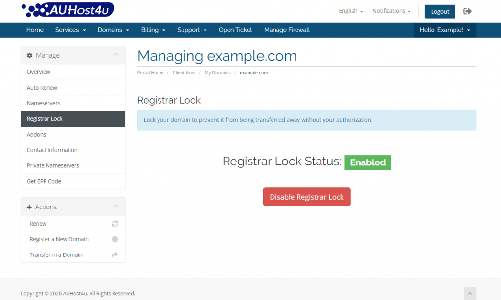 transfer-out-a-domain-disable-registrar-lock-auhost4u-platform-tutorial