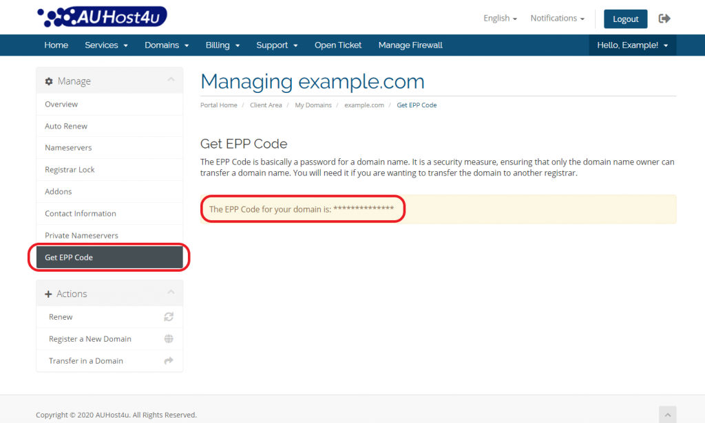 transfer-out-a-domain-get-EPP-code-auhost4u-platform-tutorial