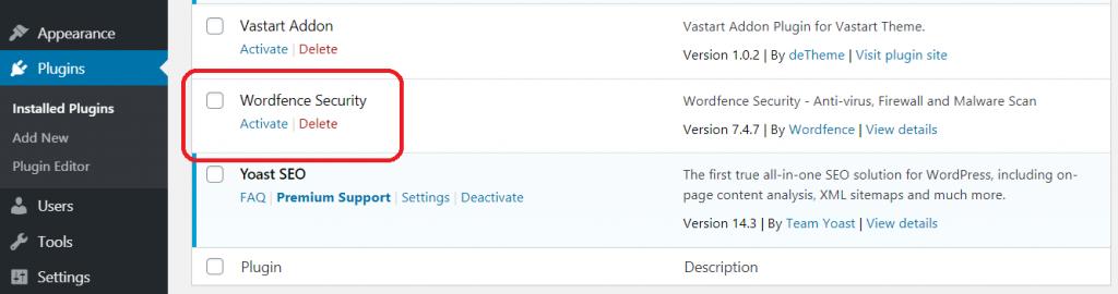 wordpress-installed-plugin-section-activate-wordfence-plugin-auhost4u-tutorial